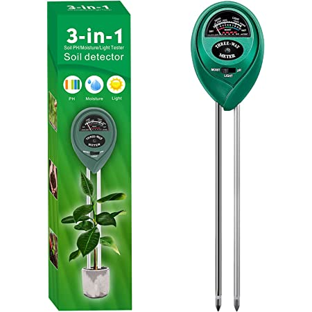 Alkey Soil Moisture Meter - 3 in 1 Soil Tester Kits with Soil Moisture/Light/pH Tester, Gardening Tool Kit for Plants, Suitable for Indoor & Outdoor, Gardens, Lawn, Farms Use