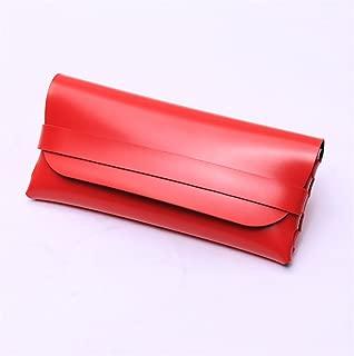 Soft Leather Slim Glasses Case Tilt Flat-Folding Protective Travel Portable Storage Box Pouch Handmade Vintage Retro Gift,3 Colour,Red