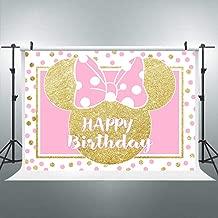 Riyidecor 7x5ft Happy Birthday Backdrop Mouse Pink Gold Polka Dots Princess Girl Photography Background Newborn Baby Shower Party Decoration Celebration Banner Props Photo Shoot Studio Vinyl Cloth