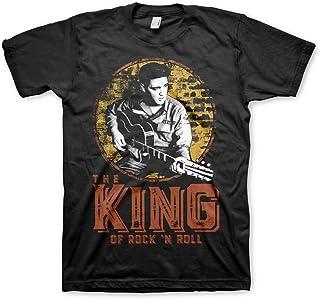 "ELVIS PRESLEY Offizielles Lizenzprodukt The King of Rock ""n Roll Herren T-Shirt Schwarz"
