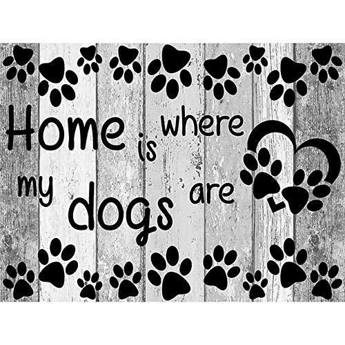 Kslss Home Woonkamer Decor 5D DIY Diamant Schilderen Thuis is Waar Mijn Honden zijn Brieven Volledige Boor Kit Muur Art 50X60Cm