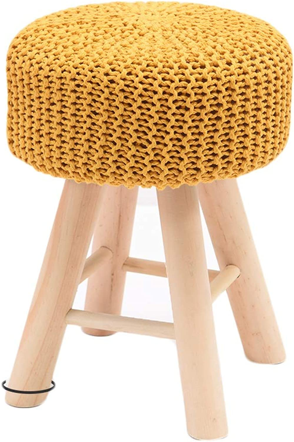 LIXIONG Household Beech Round European Style Triangle Design Sofa Stool, Bearing Weight 75kg, 4 colors (color   Yellow)