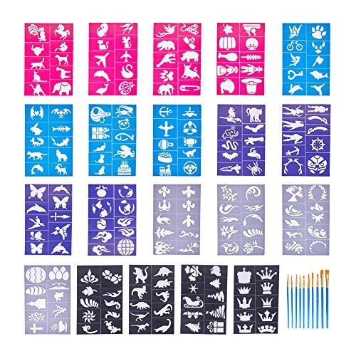 NBEADS Stencil per Tatuaggi, 20 Fogli di Adesivi Paint Stencil Art Face Adesivi per Body Paint E 10 Pezzi di Pennelli per Feste, Carnevali Scolastici, Halloween E Natale