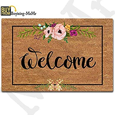 MsMr Door Mat Entrance Mat Welcome Flowers Patten Non-Slip Doormat 23.6 by 15.7 Inch Machine Washable Non-Woven Fabric