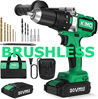 Brushless Cordless Drill Driver Set w/ 2 Lithium-Ion Batteries, 20 V Hammer Impact Drill Kit w/ 660 In-lb Torque, Variable Speed, 1/2