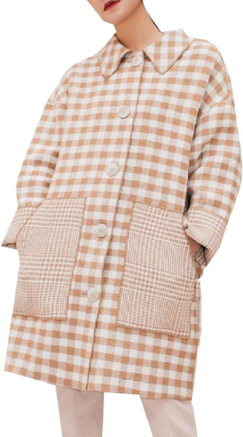 Baseby Women Single Button Plaid Wool Vintage Trench Pea Coat Outwear