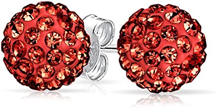 Round Simple Basic Disco Pave Crystal Ball Stud Earrings Women For Teen 925 Sterling Silver More Colors 8MM