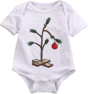 Infant Baby Girl Boy Christmas Tree Romper Bodysuit Jumpsuit Outfit 0-18M