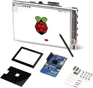 Pantalla LCD de 3.5 Pulgadas para Raspberry Pi, IPS 60fps Pantalla LCD HDMI de 3.5 Pulgadas para Raspberry Pi con Estuche de acrílico Negro, resolución Ajustable de 320x480~1920x1080