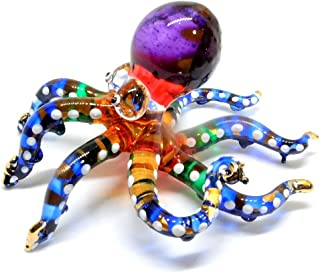 Handmade Swimming Octopus Art Glass Blown Sea Animal Figurine - No.3
