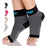 Dowellife Plantar Fasciitis Socks, Ankle Brace Compression Support Sleeves & Arch Support, Foot Compression Sleeves, Ease Swelling, Achilles Tendonitis, Heel Spurs for Men & Women (Black, L)