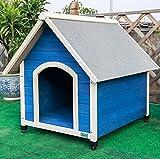 Petsfit Perrera de madera grande del perro con la estera ajustable del pie, color azul, 98cm x...