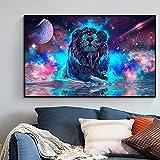 Puzzle 1000 piezas Color planeta luminoso León lienzo pintura moderna Animal imagen arte pared arte cartel sala de estar puzzle 1000 piezas animales educativo divertido juego50x75cm(20x30inch)