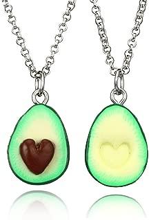 HooAMI Avocado BFF Friendship Necklace Pendant Heart Love Present Necklace 2pcs