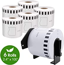 "COLORWING DK-2205 Compatible Brother Labels 2.4"" x 100 Feet Continuous 62mm x 30.4m Cut-to-Length Paper Shipping Label Roll, White, for Brother QL-810W and QL-820NWB Printer, 6 Rolls"