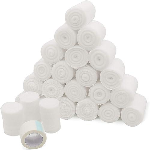 new arrival Gauze Bandage Rolls w/Tape 2-in Wide Stretch Bandage Roll - 4yds Rolled Gauze Wrap - Gauze Bandage Wrap - Wrapping Gauze Rolls - White Cotton Bandage 2021 Wrap Supplies - Rolled Gauze lowest Bandages (24) online sale