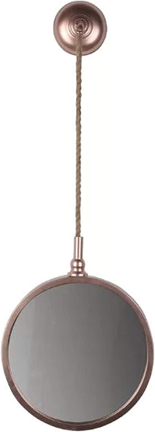 House Decoration Modern Accent Mirror. Handcrafted On-Trend Byrne Round pink gold Wall House Decoration Modern Accent Mirror Metal Horizontal greenical (Small)