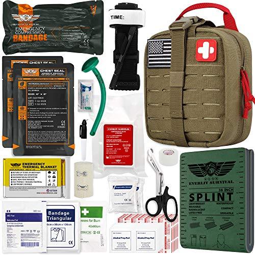 "EVERLIT Emergency Trauma Kit GEN-II Mil-Spec Nylon Laser Cut Pouch with Aluminum Tourniquet 36"" Splint, Military Combat Tactical IFAK for First Aid Response Bleeding Control (GEN-2 Coyote Brown)"