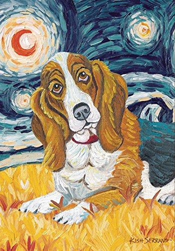 Toland Home Garden Van Growl Basset Hound 12.5 x 18 Inch Decorative Puppy Dog Portrait Starry Night Garden Flag Basset Hound Dog Portrait