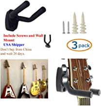 TopStage K610 3/4H Set of 3 Guitar Hangers Hook Holder Wall Mount Display - w/Mounting Hardware