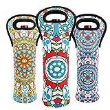 Wein-Tragetasche, strapazierfähig, Neopren, für Champagnerflaschen, Schutztasche für Reisen im Bohemian-Stil, geometrischer Stil, für den sicheren Transport Bohemian-Set(3)
