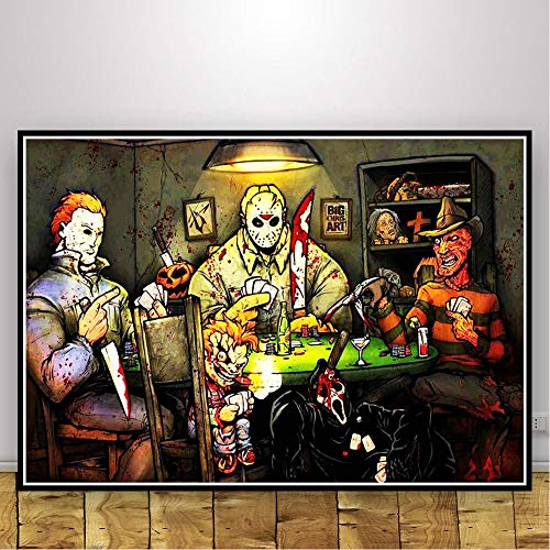wtnhz Classic horror movie art DIY 5D Diamond Painting Kits mural Gift Included for Home Wall Decor Round diamond(Frameless) 40x50cm