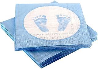 20 Servetten, Baby Voeten Voetafdruk, Lichtblauw, Doop Baby Boy Baby Shower