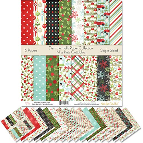Pattern Paper Pack - Deck The Halls - Christmas - Scrapbook Specialty Paper Single-Sided 12'x12' Collection Includes 16 Sheets - by Miss Kate Cuttables