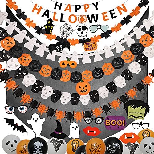 Halcyerdu 59 Pcs Set de Decoración de Halloween con Globo de Halloween, Pancarta de Guirnalda de Halloween, Pancarta de Feliz Halloween, Accesorios para Fotos y Tela de Decoración Negra
