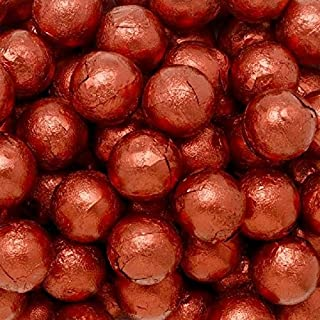 Individually Wrapped Foil Covered Chocolate Caramel Balls in a Variety of Colors - Bulk Wholesale (Red, 5 Pounds)