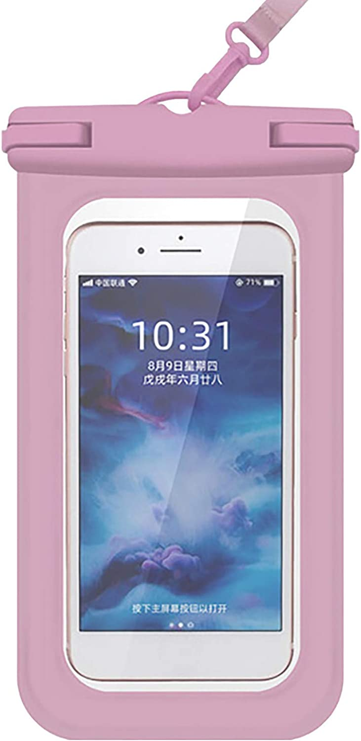 ZHANSANFM Floating Waterproof Phone Case Waterproof Pouch Cell Phone Dry Bag for Phone Pink