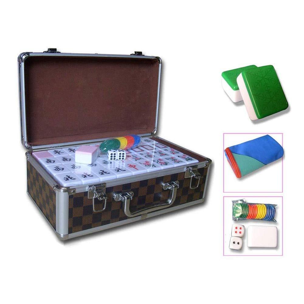 ZOUJUN Azulejos Mahjong Mahjong Juego Set Club de Juegos de Mesa portátil con Mahjong Deluxe del Cuadro de Estilo Retro for el hogar con múltiples Opciones de Color 144PCS: Amazon.es: Hogar