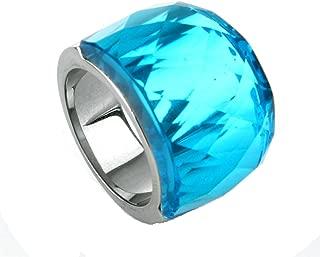 BeyDoDo Modeschmuck Edelstahlring Ring Edelstahl Frauen Klarer Kristall Zirkonia Stein Hellblau Silber Damenring