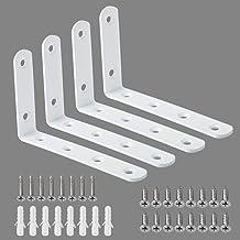 Alise 4 Pcs Floating Shelf Bracket Stainless Steel Brackets Heavy Duty Corner Brace Support Wall Hanging 5x3 Inch,Bright W...