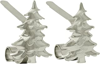 Haute Decor MantleClip Stocking Holders with Removable ZINC Alloy Holiday Icons (2-Pack Christmas Tree, Silver)