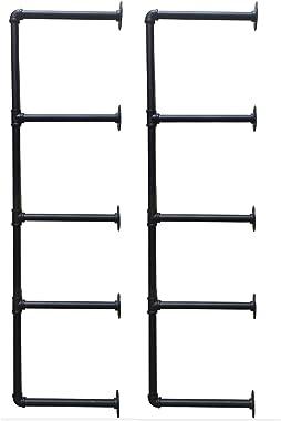 "Heroecol 2Pc (56"" Tall) (12"" Board Wide) Industrial Iron Pipe Shelf Shelves Bookshelf Bookcase Shelving Bracket Vintage Retro Black Open DIY Storage Home Office Kitchen (2Pcs 5Tier Hardware only)"