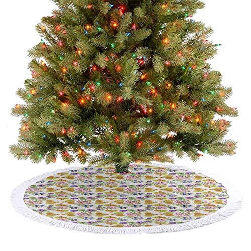 Decoración para árbol de Navidad con diseño de acuarela para decoración de jardín floreciente y romántica de primavera, flores de Navidad para interiores y exteriores, multicolor, 122 cm
