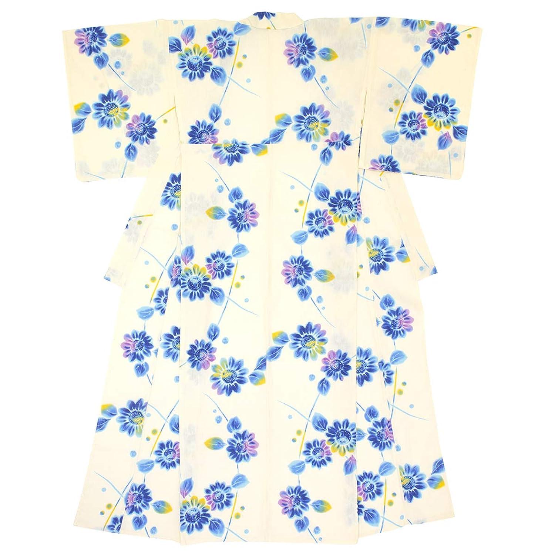 (ソウビエン) 浴衣 レディース 単品 白系 青 向日葵 ひまわり 花 綿 変わり織 ボヌールセゾン フリーサイズ