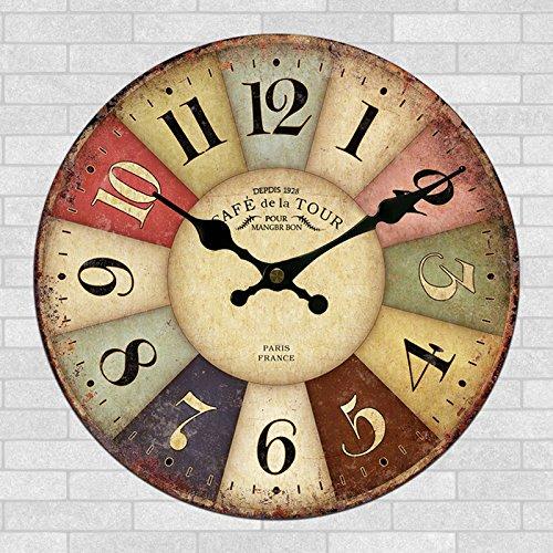 Salón americano de 20 pulgadas vintage creativo decorativo redondo reloj de pared reloj estilo moda 50cm,V-20 pulgadas