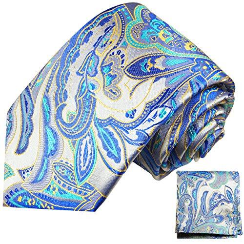 Cravate homme bleu paisley ensemble de cravate 2 Pièces (longueur 165cm)