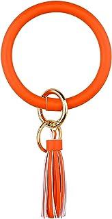 Women\u2019s Keychain Women\u2019s Accessories Sunshine Keychain Orange and Yellow Keychain Shine Keychain Round Wooden Tassel Keychain