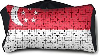 SUNNMOON Singapore Flag Puzzle Neck Travel Pillow Support Scarf Voyage for Airplane Eye Mask, Travel Pillow and Eye Mask Washable Pillows