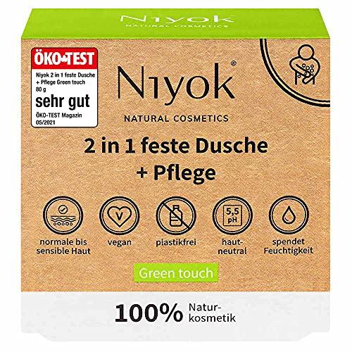 Niyok® 2 in 1 feste Dusche und Pflege | festes Duschgel ohne Palmöl | hautneutral pH 5,5 vegan plastikfrei | wie Duschseife Bio Seife Naturkosmetik | spendet Feuchtigkeit | Green touch (80g)