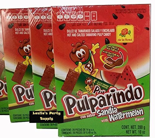 Pulparindo Hot and Salted Tamarind Pulp Candy with Watermelon Flavor, 20 ct box (Pack of 3)