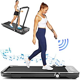 Under Desk Treadmill for Home,2 in 1 Folding Treadmill Machine with LED Display, Remote Control and Bluetooth Speaker, New for 2020, Installation-Free