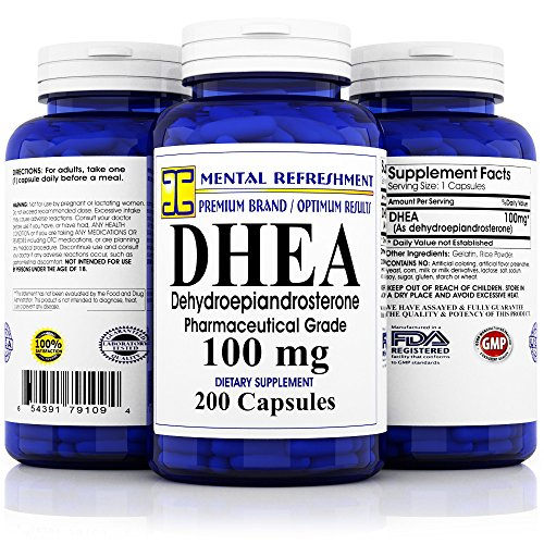 Pure DHEA - 100 mg Max Strength - 200 Capsules - Supports Balanced Hormone Levels for Women & Men, Healthy Metabolism, Libio, Brain, Immune Function & Energy