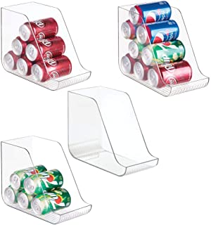 mDesign Large Standing Kitchen Can Dispenser Storage Organizer Bin for Canned Food, Soup, Dog Food, Pop/Soda - Compact Vertical Holder - 4 Pack - Clear