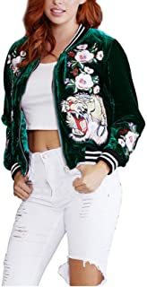 MS Mouse Women's Fashion Velvet Rose Embroidery Biker Quilted Bomber Flight Jacket