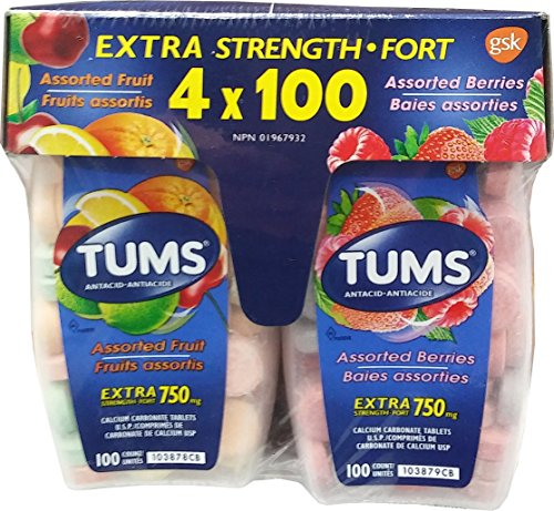 TUMS 750mg Calcium Carbonate 4X100 Tablets Set