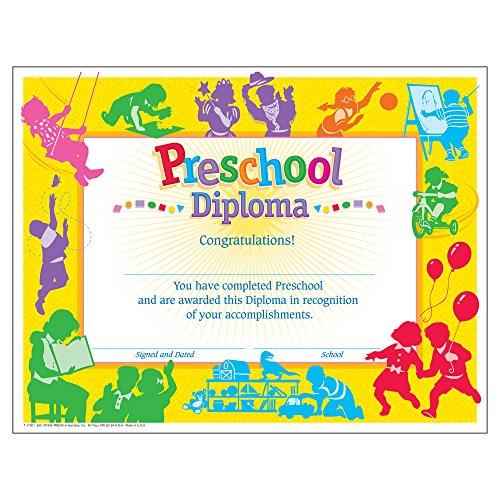 Trend Enterprises, Inc. Diploma clásico de preescolar, 30 unidades